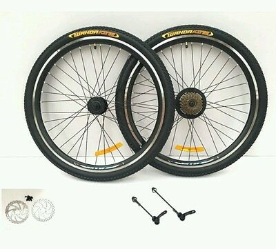 "26 "" Alloy Mountain Bike Wheel front & rear 7 SPEED SHIMANO FREEWHEEL disc / rim"