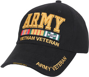 Black Deluxe US Army Vietnam Veteran Ribbon Low Profile Baseball Hat Cap