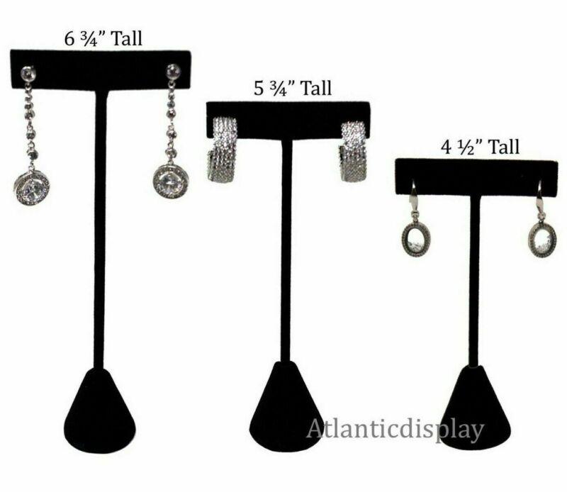 Black Velvet T Earring Display Stand Individual Earring Holder - 3 Sizes