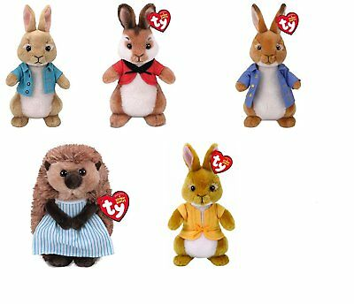 "TY Beanie Baby 6"" Cotton tail Flospy Mopsy Peter Rabbit Mrs Tiggy Winkle Plush"