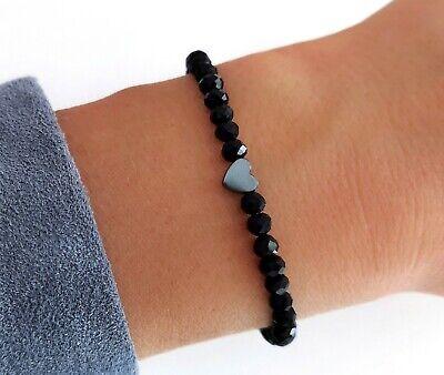 Herz Armband ♥ Infinity schwarz Perlenarmband Liebe Partner Geschenk Filigranes