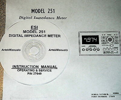 Electro Scientific Esi 251 Digital Impedance Meter Operating And Service Manual