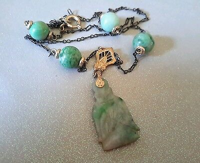 ANTIQUE ART DECO STERLING CHINESE CARVED JADE BUDDHA NECKLACES