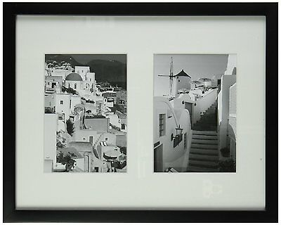 11x14 Black Photo Wood Collage Frame with REAL GLASS & White