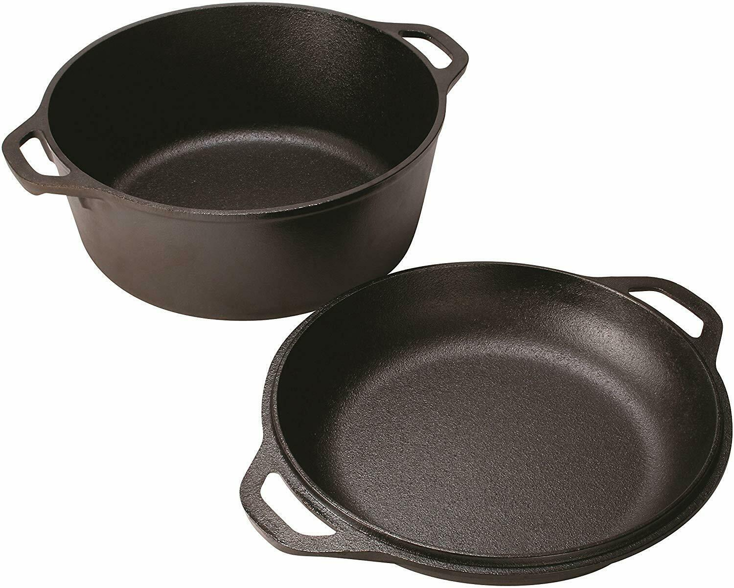 Lodge Cast Iron 5 Qt Double Dutch Oven Pot Casserole Skillet