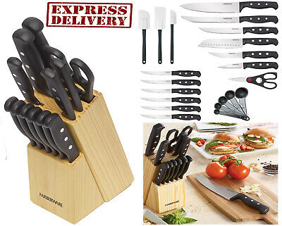 Knife Set With Obstruct Kitchen Stainless Steel Sharpening Cutlery Knives 22 Piece