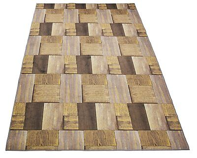 - Nature Inspired Area Rug and Runner Slip Resistant Rubber Exotic Hardwood Design