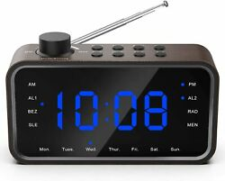 RockSeed Digital Alarm Clock Radio, FM Radio Blue LED Display, Dual Alarm dimmer