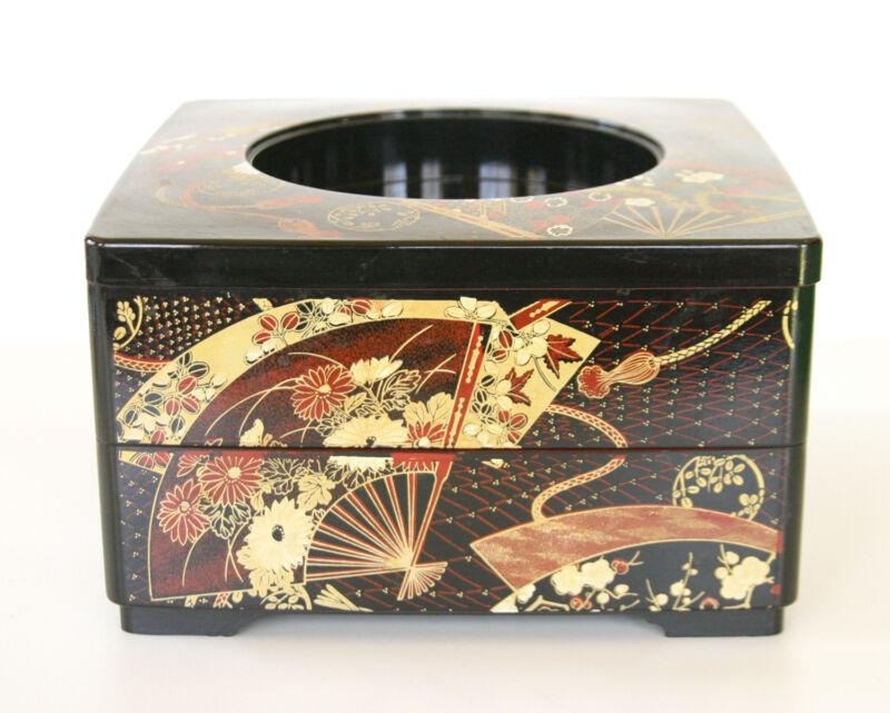 VTG Jewelry Storage Box Chest Japanese Fuji Decor Bento - 2 Tier Japan