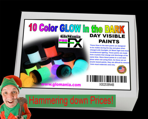 10 Color Glow in the Dark Paint Set+ FREE Keyring &  Pot of Medium