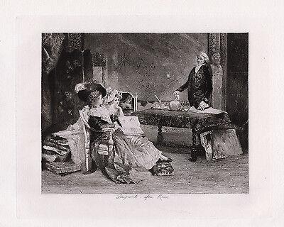 """Stunning 1800s Lucius ROSSI Antique Etching """"Les Femmes Savantes"""" SIGNED COA"""