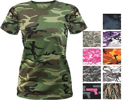 Girls Short Sleeve Tee (Womens Long Length Camo T-Shirt Military Army Ladies Girls Short Sleeve)