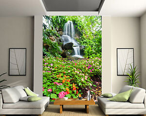 papier peint g ant 2 l s tapisserie murale d co ruisseau fleurs r f 166 ebay. Black Bedroom Furniture Sets. Home Design Ideas