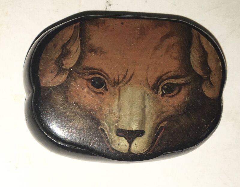 Wonderful 19th Antique Paper Mache Snuff Box, Comical Dog Bear Fox French