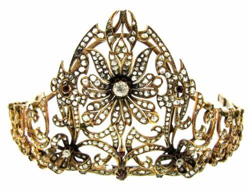 Antique YELLOW GOLD DIAMOND RUBY PERSIAN TIARA
