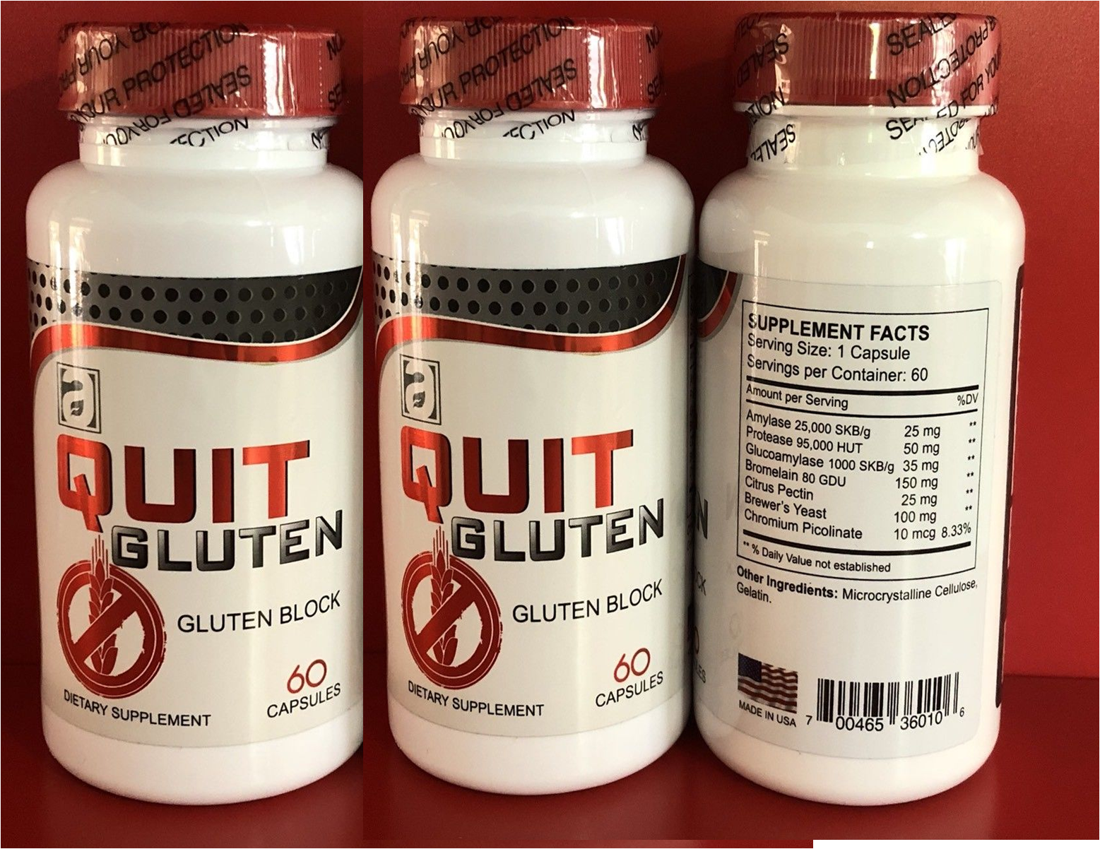 Quit Gluten Block Free 40 % Off 120 capsules Dietary Supplement Easy Digestion