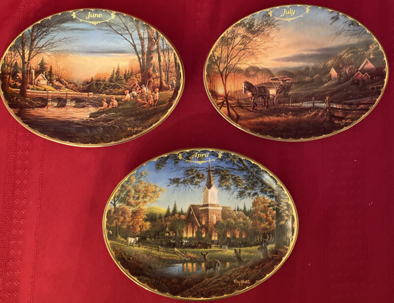 """3 - TERRY REDLIN """"Seasons to Remember """" Collectors Plates:  April, June, July"""