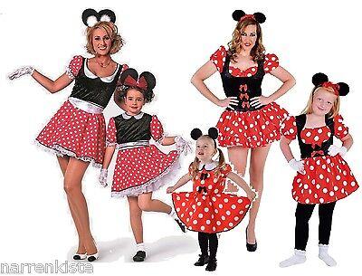 Micky Mickey Minny Minni Minnie Maus Mouse Disnay Kleid Kostüm Damen Kinder Baby ()