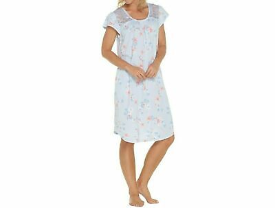 Carole Hochman Dream Floral Cotton Jersey Sleepshirt-Blue-2X-NEW-A302167