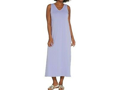 AnyBody Loungewear Regular V-Neck Cozy Knit Maxi Dress Solid Peri X-Large Size