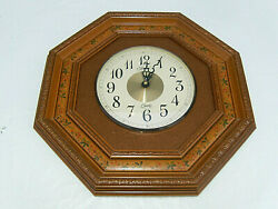 Vintage Homco Burwood Octagon Wall Clock w/Carved,Painted Wood,leather+Brass USA
