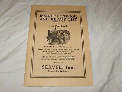 Hercules Instruction Book and Repair List #128 by Servel, Inc. Modern Reprint