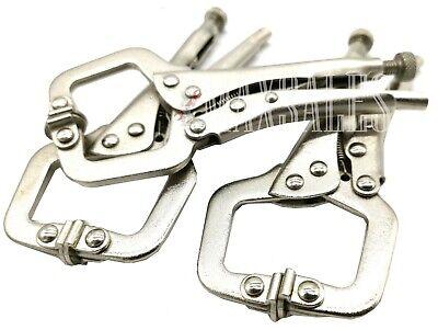 "3pc 6"" Locking Vise C-Clamp Pliers Flex Pads Hand Tool Weldi"