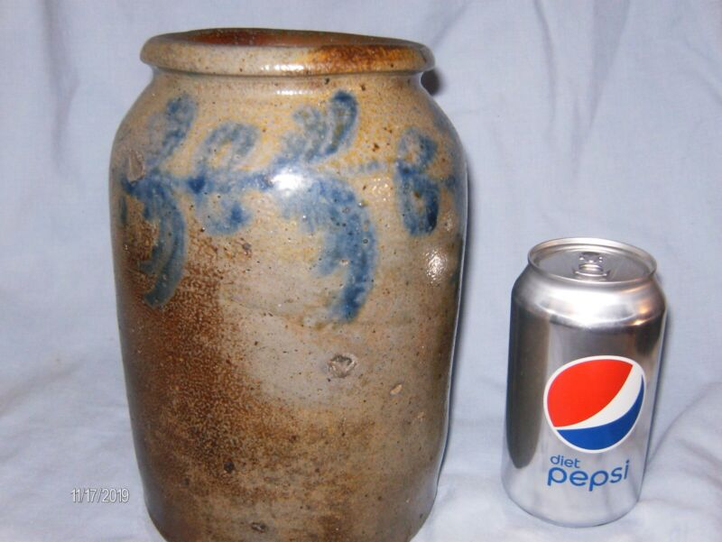Nice Early 1/2 Gal. Remmey Stoneware Crock From Philadelphia PA