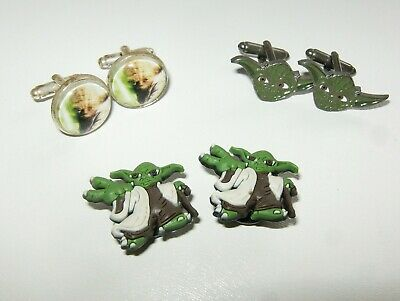YODA  CUFFLINKS  JEDI MASTER  Cone Wars . Star Wars 3x Sets Cufflinks