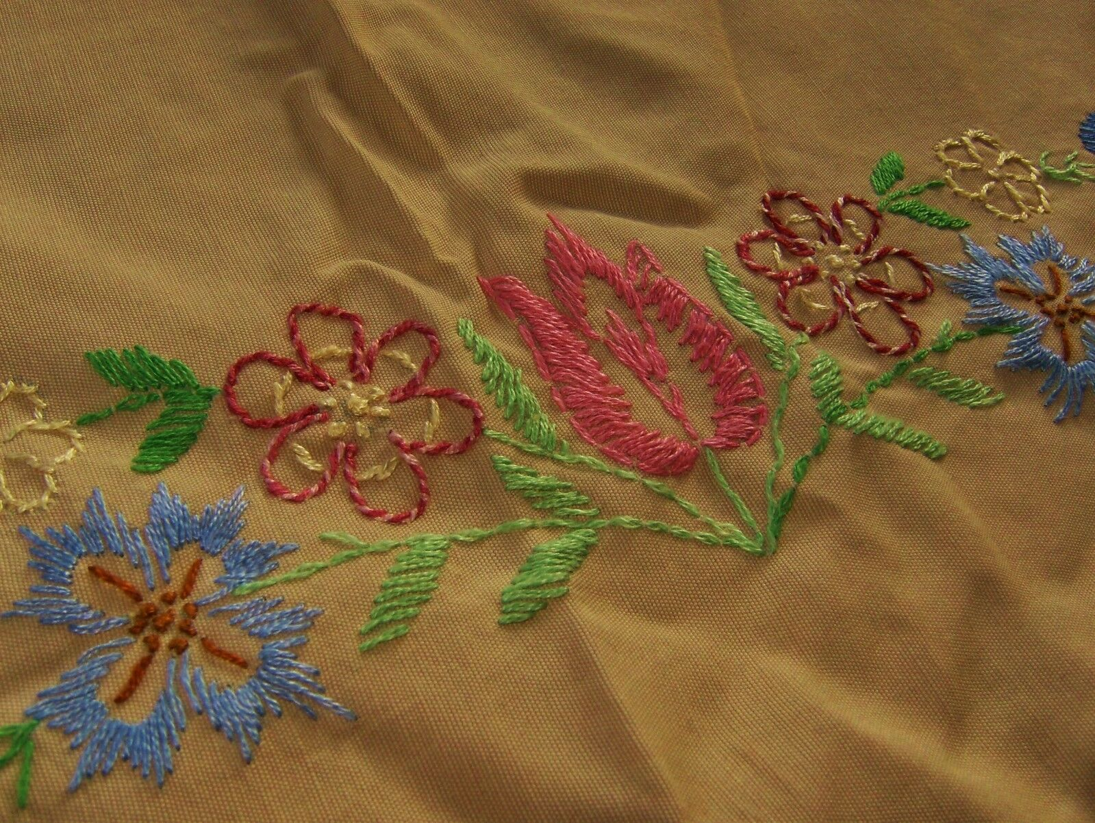 Beautiful vintage rayon tablecloth hand embroidered