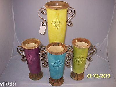 Painted Vases With Metal Handles Blue, Fuschia Decorative Urn