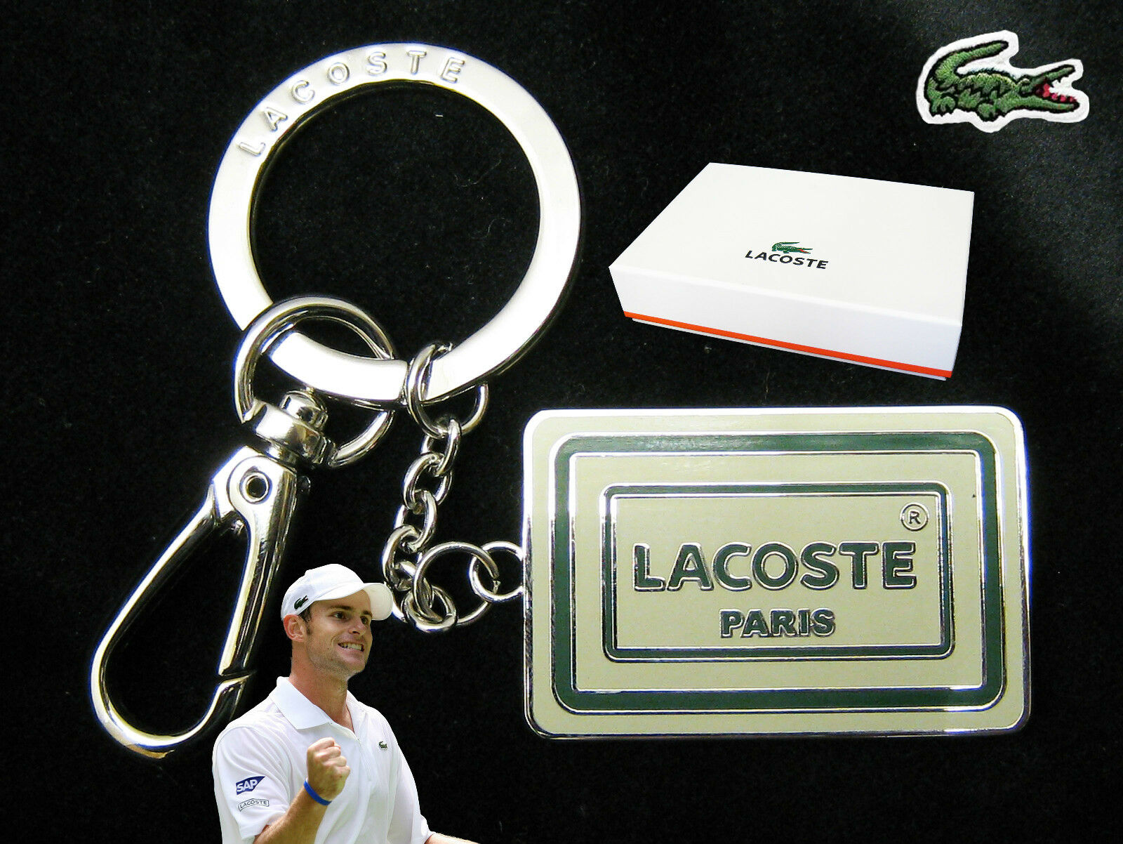 Authentic Lacoste Enamel paris Keyring Key Bag Charm L24.21 White