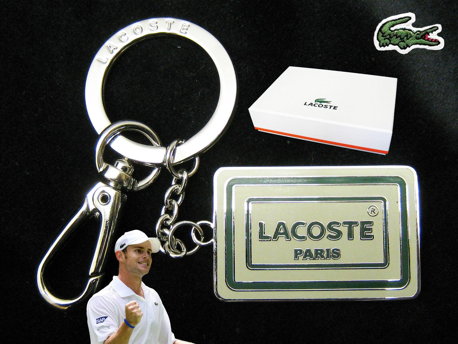 Authentic Lacoste Enamel paris Keyring Key Bag Charm L24.21 White