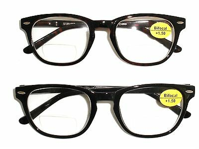 Brown Or Black Hornrim Style Bifocal Reading Glasses- Spring Hinge At Temple