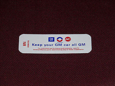 69 BUICK 350-2V HD KEEP YOUR GM CAR ALL GM AIR CLEANER DECAL NEW 1969 BN 6484918