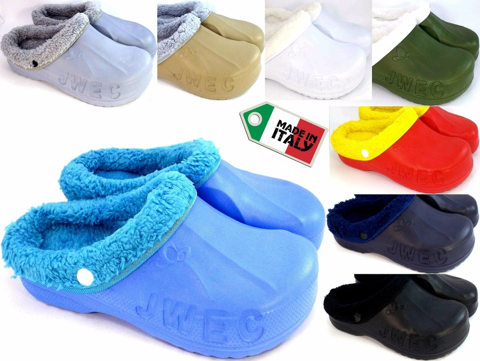 PANTOFOLE CIABATTE CLOG CLOGS ZOCCOLI GOMMA Pelliccia Invernale MADE IN  ITALY ... 61c831a315c