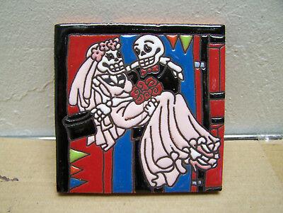 Day of the Dead Tile - Skeleton Wedding Groom Carrying Bride - Mexico - Day Of The Dead Brides