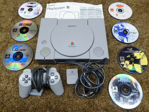 PS1 Playstation 1 Console Lot TESTED w/ Controller ORIGINAL CLEAN 7 Games