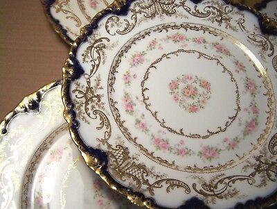 Haviland Limoges 4 fancy dinner plates cobalt edge gold pink roses