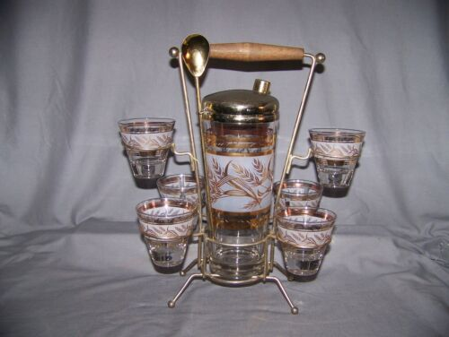Vintage Mid Century Gold, Frosted, Wheat Glass Cocktail Shaker W/Carrier & 6 Gla