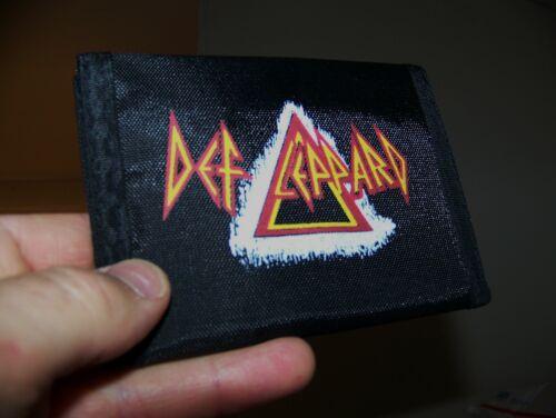 NEW NOS Vintage 1980s DEF LEPPARD LP Art Nylon Bi-Fold Wallet Hook Loop Closure