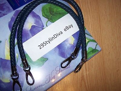 - Miche Navy Blue Rope Braided Handles Strap w/ silver lobster claw/clip ends NEW