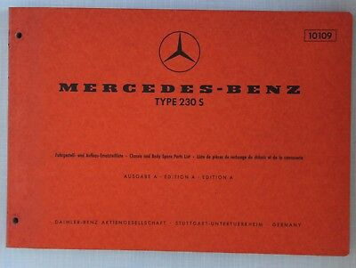 Mercedes-Benz Spare Parts Catalogue 1960s Models 230S