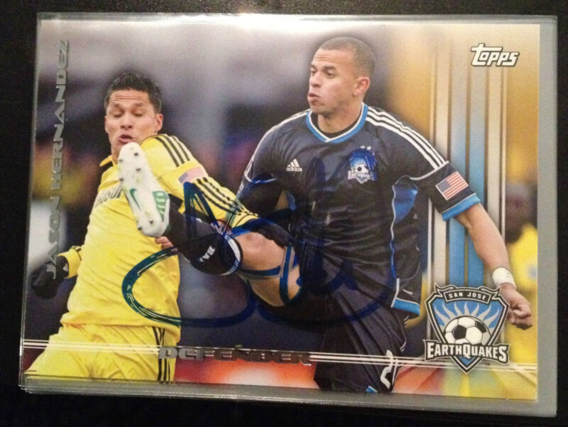 San Jose Earthquakes Jason Hernandez Autographed 2013 Topps MLS Card