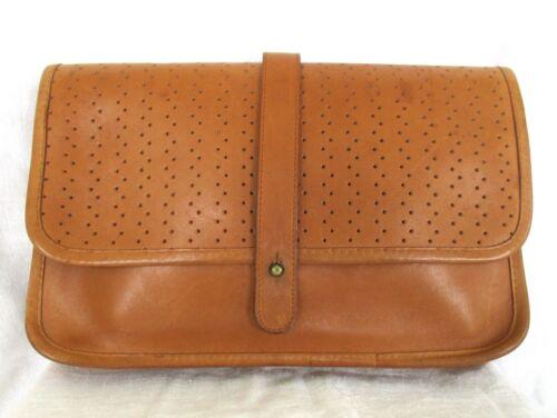 Vintage Michael Green Leather Perforated Envelope Clutch Handbag Purse