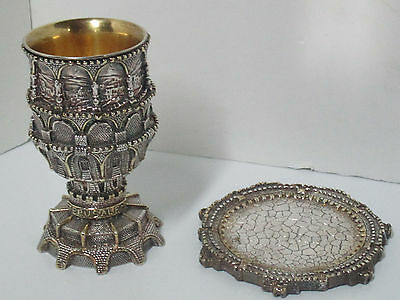 Zadok Kiddush Cup and Saucer Jerusalem Trough Arches .925 Silver Clad