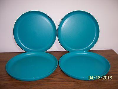 Tupperware Round Party Plates ~ Dark Aqua ~ Set of 4 ~ NEW