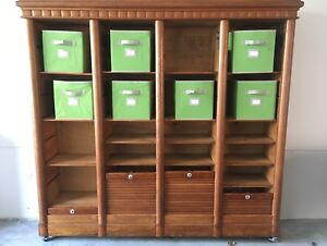 Antique Cabinet/Bookcase w/ Roll up Doors