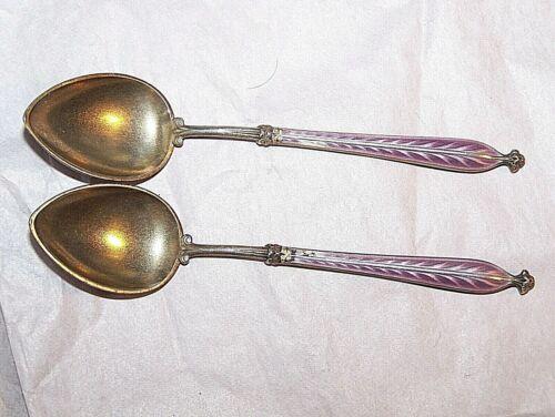 Sterling Silver Enamel Spoon Set Of 2 Hallmarked 950 Silver