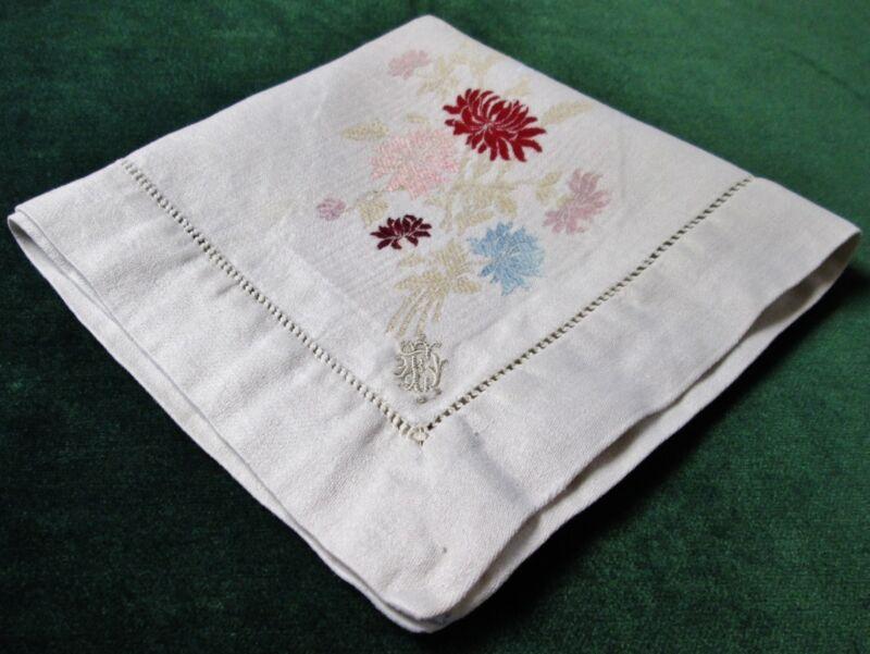 Antique 12 Linen Napkins Jacquard Woven Florals F D Monograms Hemstitched